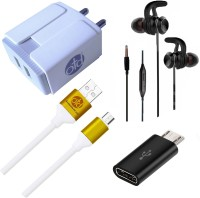 OTD Wall Charger Accessory Combo for Realme Narzo 20A, Realme U1, Reliance Lava EG841, Ringing Bells Smart 101(White, Grey)