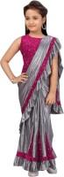 Cozee Shopping Embellished Fashion Silk Blend, Velvet Saree(Silver, Pink)