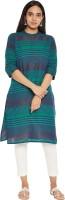 Rangmanch by Pantaloons Women Striped Straight Kurta(Blue)