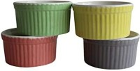 Mirakii Oven OTG Microwave Convection & Dishwasher Safe Ramekins for Serving Desserts or Snacks, Snacks,Sauce/Chutney, Baking Cup Cake, Dessert, Souffle, Creme Brulee Ceramic Serving Bowl(Green, Yellow, Grey, Brown, Pack of 4)