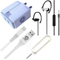 OTD Wall Charger Accessory Combo for Realme Narzo 20A, Realme U1, Reliance Lava EG841, Ringing Bells Smart 101(White)