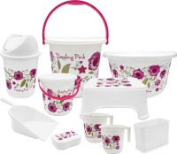 WCSE Present Unbreakable Pink Color printed bucket set (Balti 15.0 Ltr, Plastic Tub 20.0 Ltr, Small Balti 5.0 Ltr, Round Waste Container 7.0 Ltr with Lid, 2 pcs of Mug 1.0 Ltr, Soap Dish, Comfort Stool, Cutlery Stand and dustpan) 20 L Plastic Bucket(Pink, White)