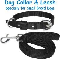 PEDIGONE Dog Belt Combo of Black Dog Collar with Dog Leash Specially for Small Breeds Dog Collar & Leash(Medium, Black)