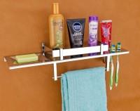 Reline New Stainless Steel 4 in 1 Bathroom Shelf/Rack/Towel Hanger/Toothbrush Holder/Towel Rod/Bathroom Accessories Stainless Steel Toothbrush Holder Silver Towel Holder (Stainless Steel) Steel, Stainless Steel Wall Shelf(Number of Shelves - 1, Silver)