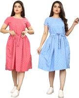 NEW ETHNIC FASHION Women A-line Pink, Blue Dress