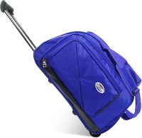 Yours Luggage Rolling Travel Duffel Bag Luggage with Wheels and Steel Trolley, Small, Royal Blue Expandable  Cabin Luggage - 21 inch