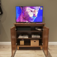Furnifry Wooden TV Stand Table with 3 Tier Storage Shelves & Door for Home Living Room Bedroom/Modern TV Entertainment Stand Base Perfect for Cable Box & Media Consoles (73x34x68.4 cm, Walnut Finish) Engineered Wood TV Entertainment Unit(Finish Color - Walnut, Pre-assembled)