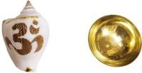 AIKAANT Sacred 'Aum' Inscription Pooja Shankh with Brass Bowl   No Sound   Pooja Om Shankh + Bowl Decorative, Sacred Shankh(White, Beige, Brown)