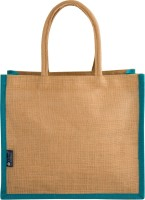 Promise Bags Perfect Eco Friendly Naturally processed Multipurpose Reusable Jute Bags(Peacock Blue Boarder) Multipurpose Bag(Blue, 10 L)