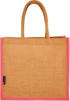Promise Bags Perfect Eco Friendly Naturally processed Multipurpose Reusable Jute Bags(Baby Pink Boarder) Multipurpose Bag(Beige, 10 L)