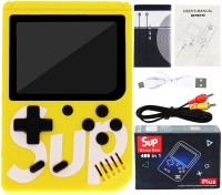 Aseenaa 400 in 1 SUP Super Game Box with Rechargable Gaming Console Toy for Kids | Battery Operated LED Screen Handheld Playing Set | Portable TV Connect Video Retro Classic Games Toys | Color : Yellow 8 GB with Arcade retro games, Logic & math, Sports, Puzzle, Arcade, Shooting, Action, Racing, Figh