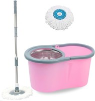 V-MOP Premium Pink Steel Classic Magic Spin Dry Bucket Mop - 360 Degree Self Spin Wringing With 1 Super Absorber Mop Set, Mop, Cleaning Wipe, Bucket, Dustbin, Mop Wet & Dry Mop(Multicolor)
