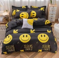 JVB 254 TC Cotton Double King Text Print Bedsheet(Pack of 1, Black King Size Face Emoji Bedsheet with 1 Cushion Cover and 2 Pillow Cover)