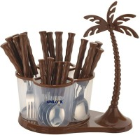 unlock Coconut Cutlery Set for Dining Table with Stand 24 PCs Stainless Steel Cutlery Set (Brown) Stainless Steel Dessert Spoon, Tea Spoon, Table Spoon, Soup Spoon, Ice-cream Spoon(Pack of 1)