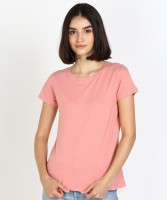 Dreamz by Pantaloons Solid Women Round Neck Pink T-Shirt