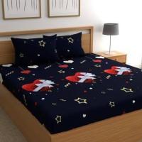 Home Garage 137 TC Microfiber King 3D Printed Bedsheet(Pack of 1, Blue)