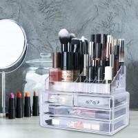 NFI essentials Acrylic Case Organizer Large Makeup Brush Organiser Lipstick, Nail Paint Stand Storage Rack Makeup Storage Vanity Box(Transparent)