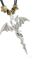 Saizen CHP215 Silver Dragon Pendant with Rope Leather Belt for Men/Boys/Husband & Unisex Rhodium Stainless Steel Locket Set