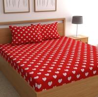 CHHAVI INDIA 120 TC Microfiber Double 3D Printed Bedsheet(Pack of 1, Red)