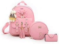 Tatuaa Small 5 L Backpack Choice 3-PCS smart Fashion Cute Stylish Leather Backpack & Sling Bag Set for Women, School & College Girl's. (Pink) 5 L Backpack(Pink)