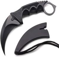 Royaldeals Karambit Knife Stainless Steel Fixed Blade Tactical Knife Multi-utility Knife(Black)