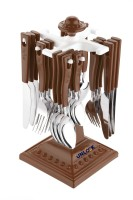 unlock SWASTIK Cutlery Set for Dining Table with Stand 24 PCs Stainless Steel Cutlery Set (Brown) Stainless Steel Serving Spoon, Soup Spoon, Tea Spoon, Table Spoon, Sugar Spoon(Pack of 1)