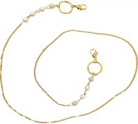 MAYAKA GEMS Pearl Beads Gold Plated Chain Holder Eyeglass Chain Strap Holder Cord Eyewear Necklace Retainer for Women Beaded Lanyard, Made in India, Holds Your Mask Around Your N Brass Chain