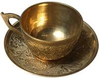 Garvi Gurjari Pack of 1 Brass Handicraft Metal Kettle & Cup Set, 3 -Piece, Gold(Gold)