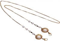 MAYAKA GEMS Pearl Beads Gold Plated Chain Holder Eyeglass Chain Strap Holder Cord Eyewear Necklace Retainer for Women Beaded Lanyard, Made in India, Holds Your Mask Around Your N Gold-plated Plated Brass Chain