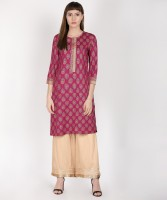 Rangmanch by Pantaloons Women Printed Straight Kurta(Pink)