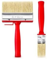DARIT Pack of 3 All Purpose Essentials Block Brush, Fence Paint Brush Wide Decking Brush, Large Shed Paint Brush Timber and Other Woodwork (30 X 120 )(Set of 3, Red)