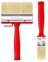 DARIT Pack of 2 All Purpose Essentials Block Brush, Fence Paint Brush Wide Decking Brush, Large Shed Paint Brush Timber and Other Woodwork (30 X 120 )(Set of 2, Red)