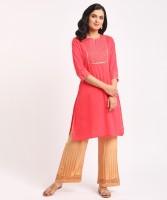 Rangmanch by Pantaloons Women Embellished Straight Kurta(Red)