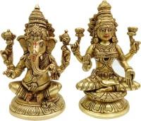 vinayakmoorti Ganesha lakshmi Statue Home Decorative Showpiece Lord Ganesha And lakshmi Mata Idol Home Pooja Temple Panchdhatu Lord Lakshmi Ganesh Murti Decorative Showpiece  -  21 cm(Brass, Gold)