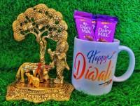 ANSHKIT Krishan ji under tree With Nandi Metal Idol Diwali gifts For Relatives Diwali Idol Gifts Diwali Mug Gifts For Loved Ones Diwali Showpiece Gift Item Diwali Metal Ganesha For Gift Ganesh Ji Gift For Diwali Lord Ganesha with Mug- Metal Hand Craved for Home Decorative Gift Puja Gifts Corporate A