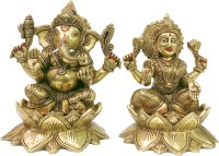 vinayakmoorti Ganesh Lakshmi Ashtdhatu Idol Ganesh Laxmi Statue For Puja Home Temple Ganesh Ji Laxmi Mata Big Size Statue For Diwali Festival Ganesh Laxmi Decorative Showpiece Ganpati Bappa Laxmi MA Murti Decorative Showpiece  -  22 cm(Brass, Gold)