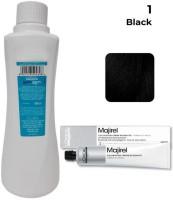 Kerafusion LOREAL Majirel Professionnel Hair Color No. 1 Black - 49.5 Gm + Developer - 495Ml , Black