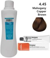 Kerafusion LOREAL Majirel Professionnel Hair Color No. 4.45 Mahogany Copper Brown - 49.5Gm + Developer - 495Ml , Mahogany Copper Brown