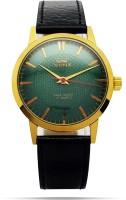 HMFT Green Gold Dial Mechanical Hand-Winding Antique Wrist Watch HMT Sona Analog Watch  - For Men