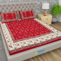 Flipkart SmartBuy 104 TC Cotton Double Jaipuri Prints Bedsheet(Pack of 1, Red)