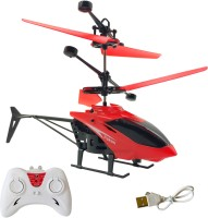 Miss & Chief 2 in 1 Infrared Induction Helicopter, Sensor Aircraft with USB Charger ,Flying Helicopter with Remote, 6 to 14 Years(Red)