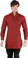 New Looks Mens Solid Pathani Kurta(Maroon)