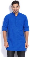 The Indian Garage Co. Checkered Men's Straight Kurta(Blue)
