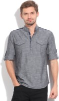 The Indian Garage Co. Solid Men's Straight Kurta(Grey)