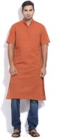 The Indian Garage Co. Solid Men's Straight Kurta(Orange)