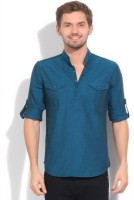 The Indian Garage Co. Solid Men's Straight Kurta(Blue)