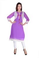 Kyaara Solid Womens Straight Kurta(Purple, White)