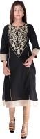 Kyaara Embroidered Womens Straight Kurta(Black)