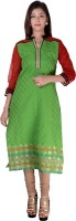 Kyaara Embroidered, Self Design Womens Straight Kurta(Green)