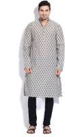The Indian Garage Co. Printed Men's Straight Kurta(Beige, Grey)